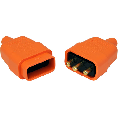 3-Pin Orange Electrical Pull-A-Part Lead Connector, 10 Amp