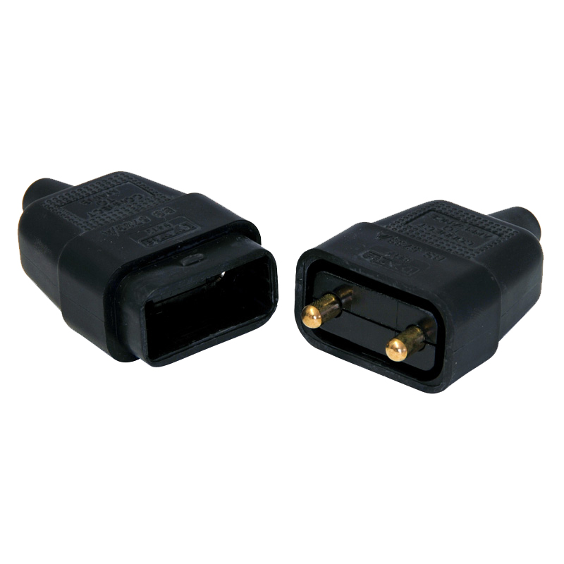 2-Pin Black Electrical Pull-A-Apart Lead Connector, 10 Amp