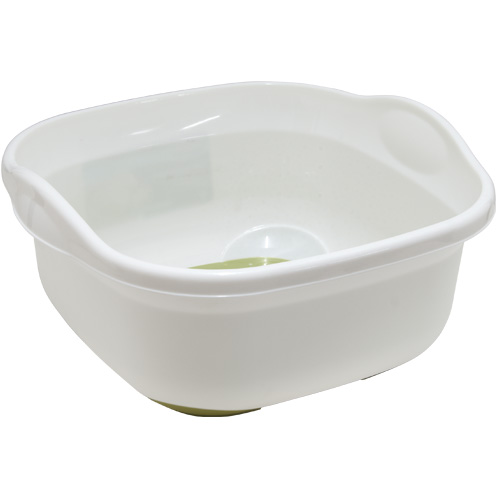 Addis Wave Soft Touch Square Washing-Up Bowl - White/Green
