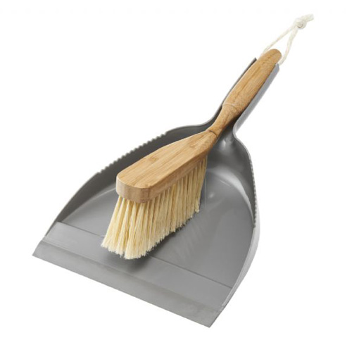 Addis Dustpan And Brush Set Grey made with Natural Bamboo