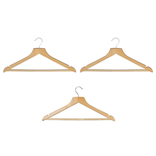 Russel Traditional Multipurpose Wooden Coat Hangers - Pack of 3