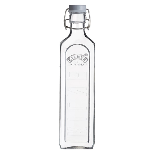 Kilner Preserving Bottle - Square Glass With Clip-Top Lid 1.0L