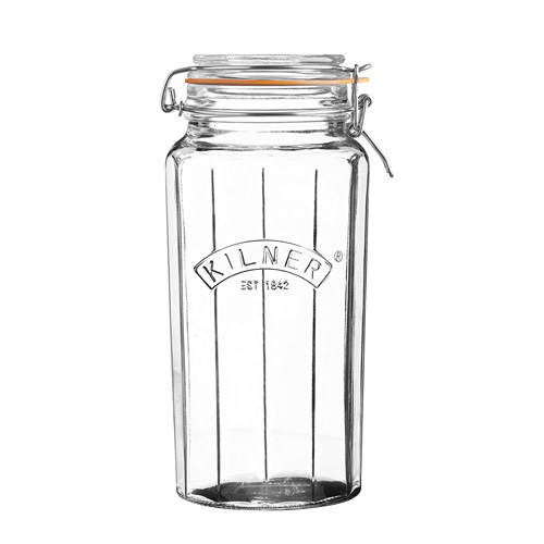 Kilner Glass Facetted Clip Top Jar - 1.8L