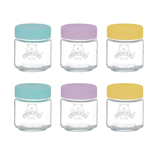 Kilner Set of 6 Baby Food Glass Jars with Colourful Silicone Lids