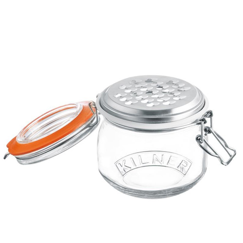 Kilner Glass Storage Jar with Grater and Clip Top Lid - 500ml