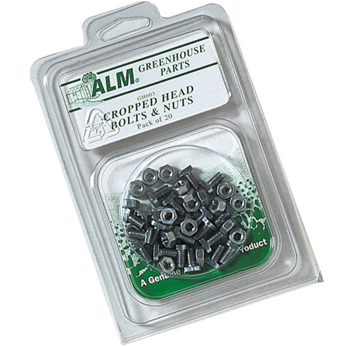 Greenhouse Cropped Head Bolts and Nuts - Pack of 20