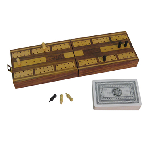 Wooden Cribbage Box Set - Contains One Pack of Playing Cards