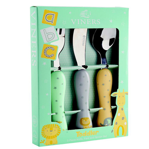 Viners Toddler Cutlery Set - Assorted Colour 3 Piece Set - Click Image to Close