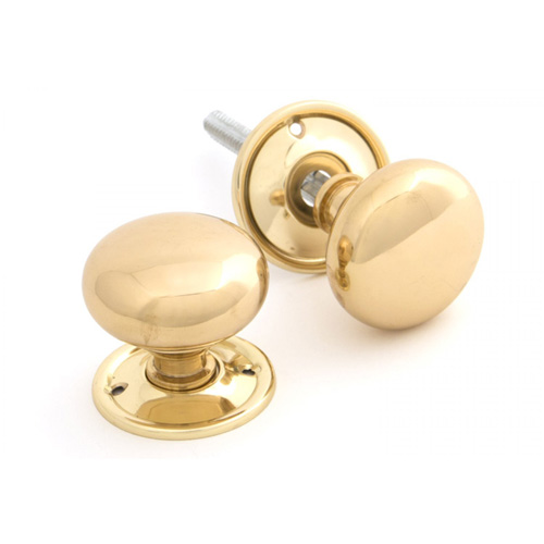 Anvil Polished Brass Mushroom Door Knob Set - 83564