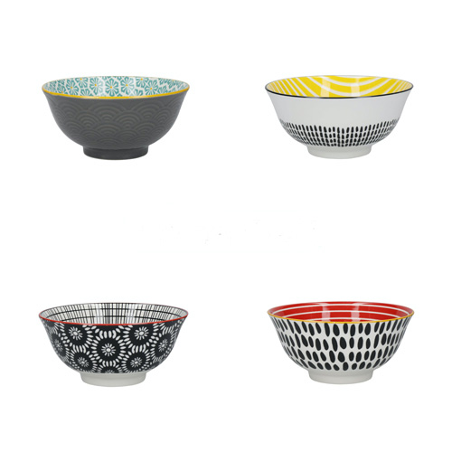 KitchenCraft Monochrome Patterned Ceramic Bowls Set of 4 Boxed