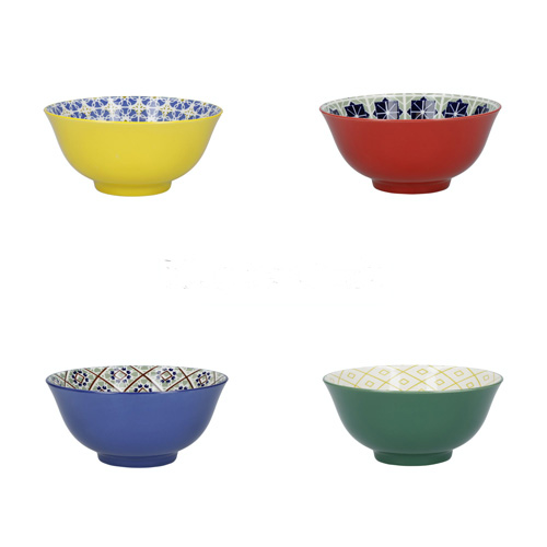 KitchenCraft Colourful Patterned Ceramic Bowls Set of 4 Boxed