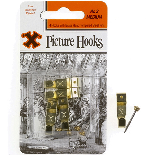 X Picture Hooks - No 2 Medium Picture Hooks