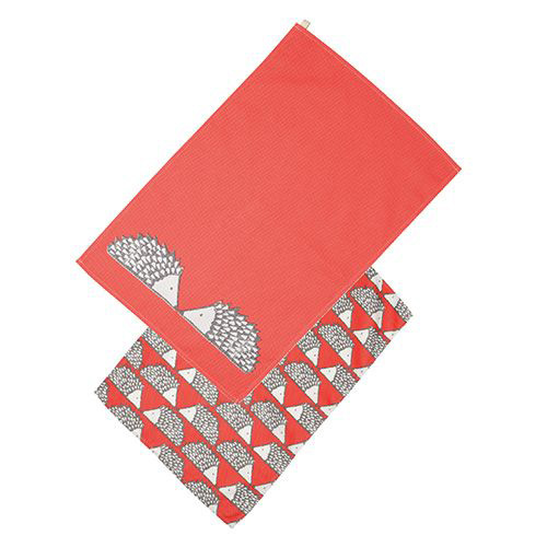 Dexam Scion Living Spike Cotton Tea Towel - Red- Pack of 2