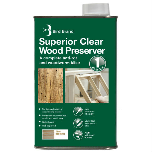 Bird Brand Superior Clear Wood Preserver Woodworm Killer 5 Litre