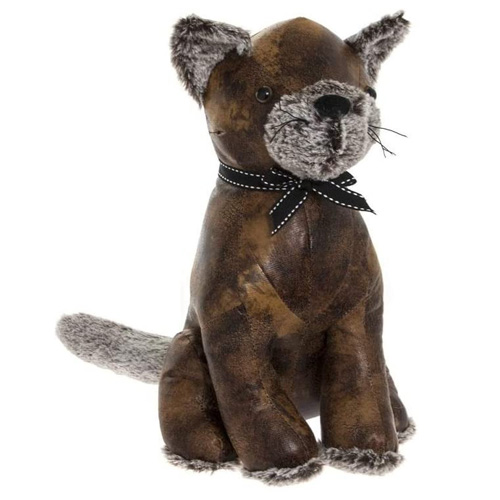 Faux Leather Cat Doorstop With Soft Ears Nose and Feet