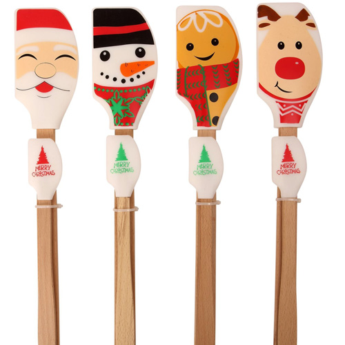 Dexam Wooden Handle Silicone Spatula - set of 2 Assorted Christmas