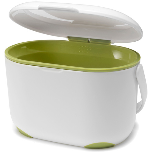 Addis Compost Caddy, White and Lime Green, 2.5 litre