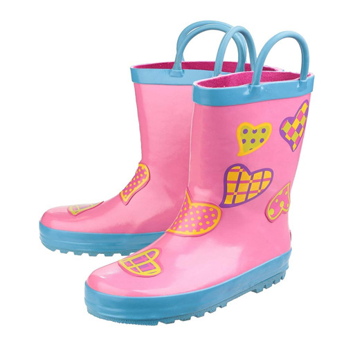Cotswold Kids Puddle Welly Boots Pink and Blue Hearts Size 7 / 24