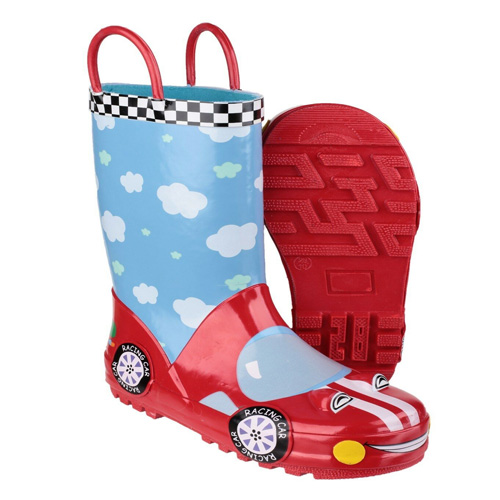 Cotswold Kids Puddle Welly Boots Red and Blue Racing Car Size 13 / 32
