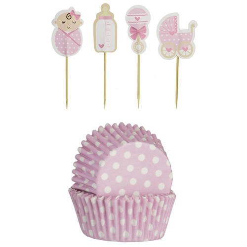 Mason Cash Vintage Baby Girl Cupcake Set - Pack of 24 plus Toppers