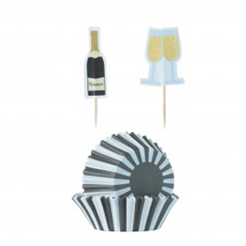 Mason Cash Prosecco Baking Case Set - Pack of 24 plus Toppers