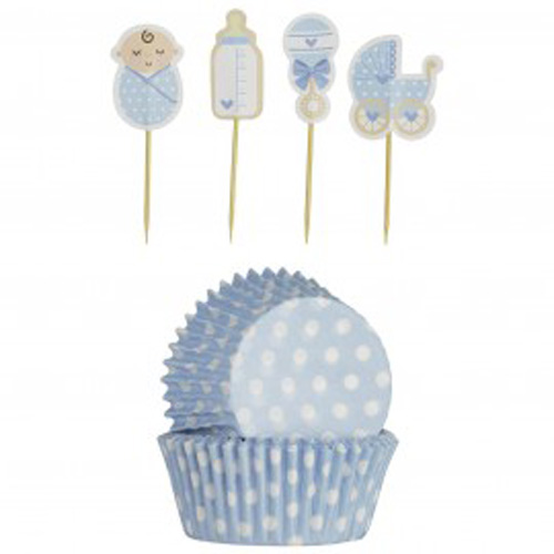 Mason Cash Vintage Baby Boy Cupcake Set - Pack of 24 plus Toppers