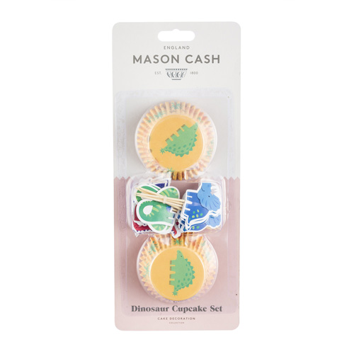 Mason Cash Dinosaur Baking Case Set - Pack of 24 with Toppers
