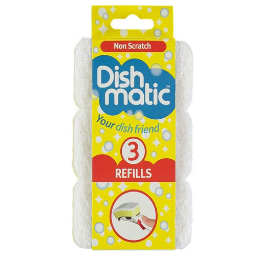 Dish Matic Scourer Replacement Heads - Pack of 3 Non Scratch