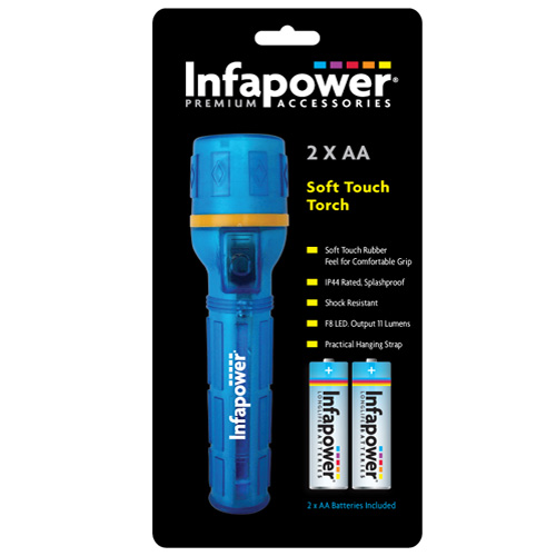 Infapower Soft Touch Torch - F020 with 2 x AA Batteries Included