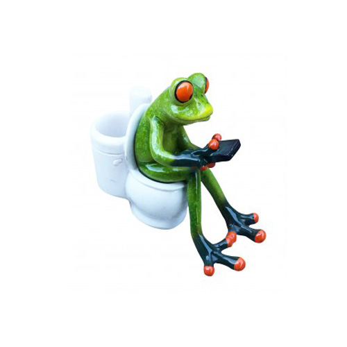 Aljec Green Frog Texting on Toilet
