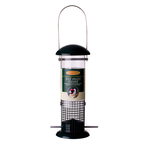 Johnston & Jeff Suet Pellet Feeder, 30cm, Green Metal / Polycarbonate