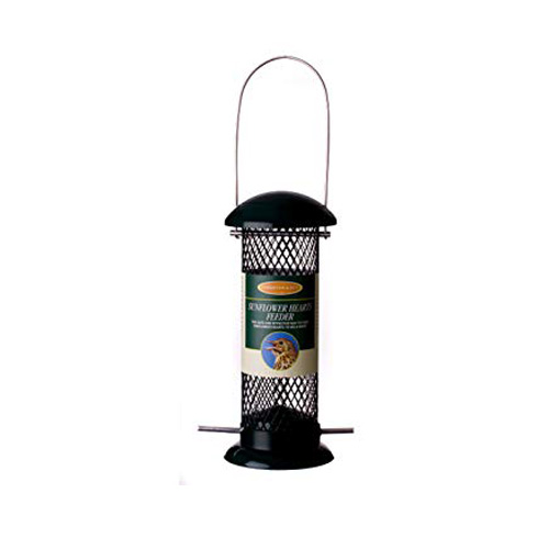 Johnston & Jeff Wild Bird Sunflower Hearts Feeder, 20cm, Green Metal