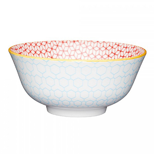 KitchenCraft Bright Blue Geo Style Ceramic Bowl