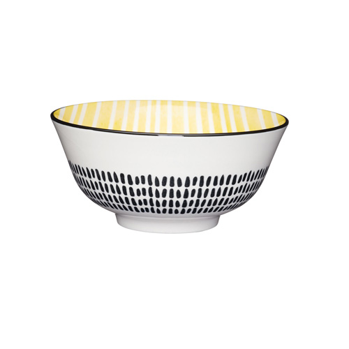 KitchenCraft Yellow and Black Moroccan Style Ceramic Bowl