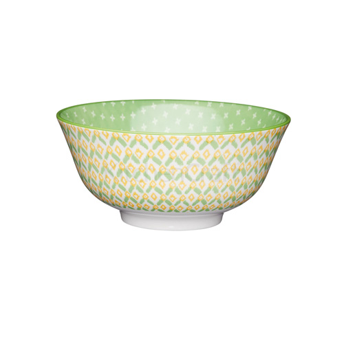 KitchenCraft Green Detailed Geo Style Ceramic Bowl