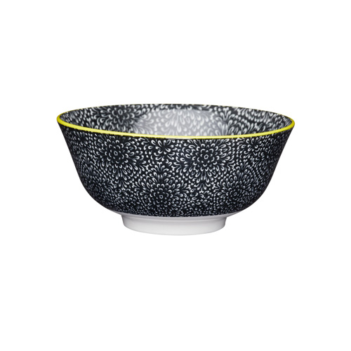 KitchenCraft Black and White Floral Style Ceramic Bowl