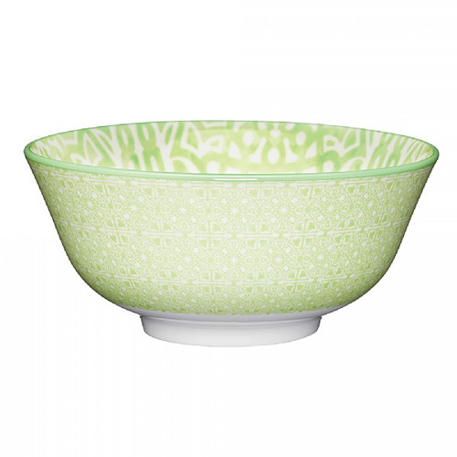 KitchenCraft Lime Green and White Tile Effect Ceramic Bowl