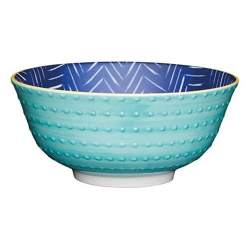KitchenCraft Pale Blue Embossed Spot Ceramic Bowl