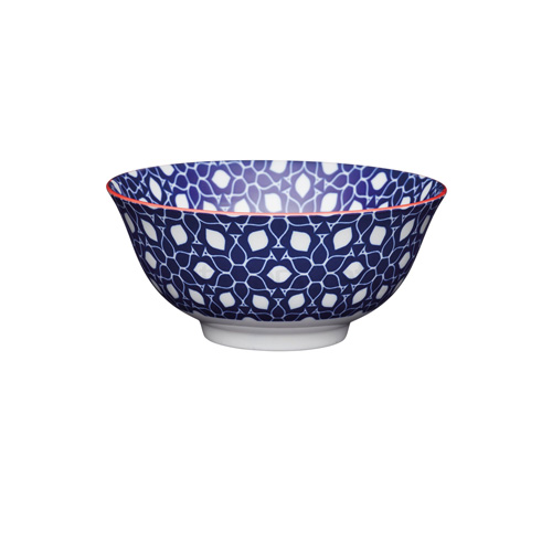KitchenCraft Blue Floral Geometric Print Ceramic Bowl