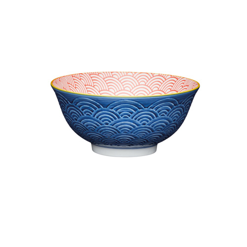 KitchenCraft Blue Arched Pattern Geo Style Ceramic Bowl