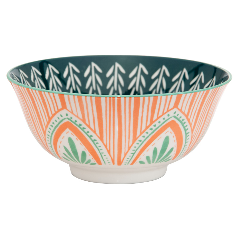 KitchenCraft Colourful Folk Pattern Ceramic Bowl