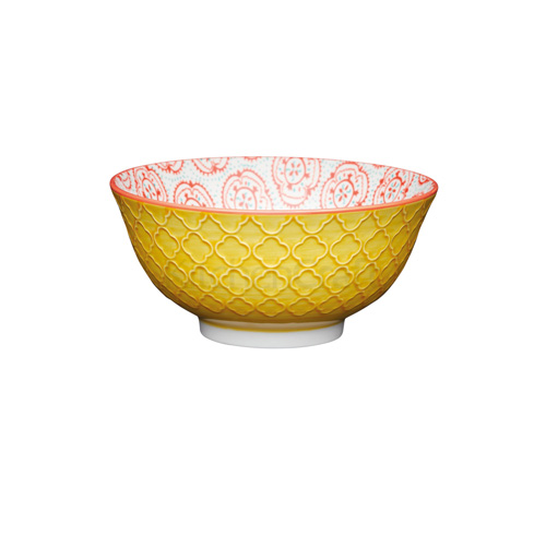 KitchenCraft Yellow Victorian Style Embossed Ceramic Bowl