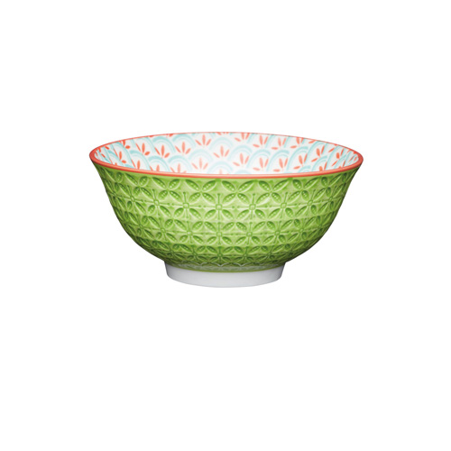 KitchenCraft Lime Green Embossed Ceramic Bowl