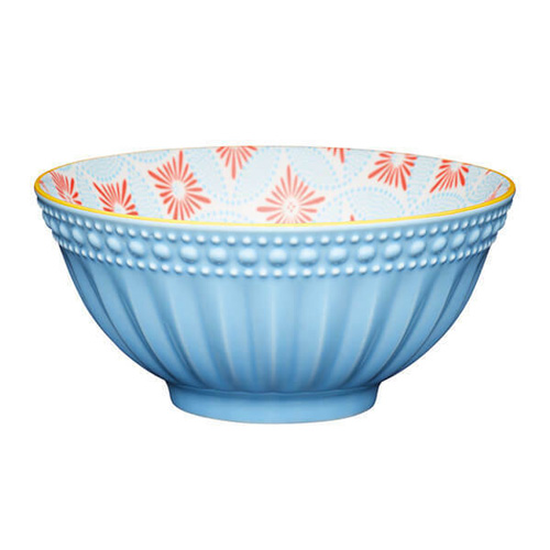 KitchenCraft Pale Blue Detailed Geo Style Ceramic Bowl