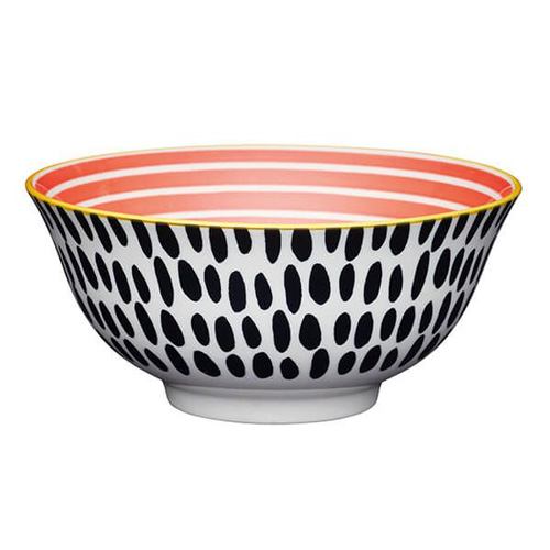 KitchenCraft Red Swirl and Black Spots Ceramic Bowl