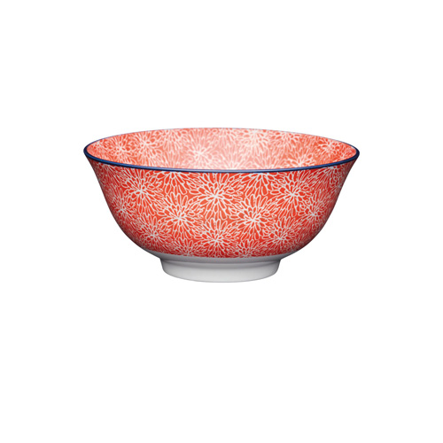 KitchenCraft Red Floral Ceramic Bowl