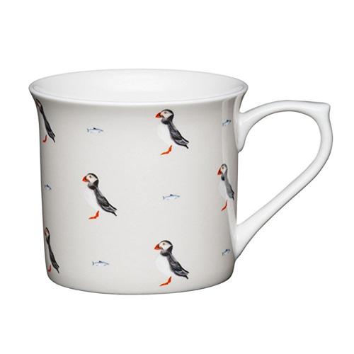 Bone China Fluted Coffee Mug - Puffins