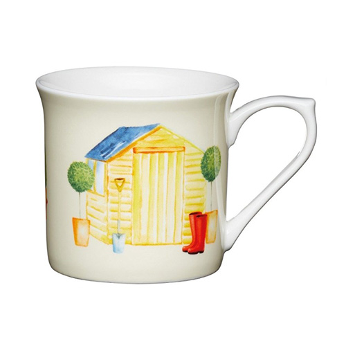 Bone China Fluted Coffee Mug - Garden Shed