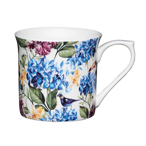 Bone China Fluted Coffee Mug - Toucan Country Floral