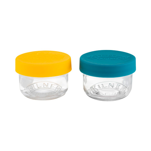 Kilner Glass Snack and Store Pots - Set of 2 with Silicone Lids